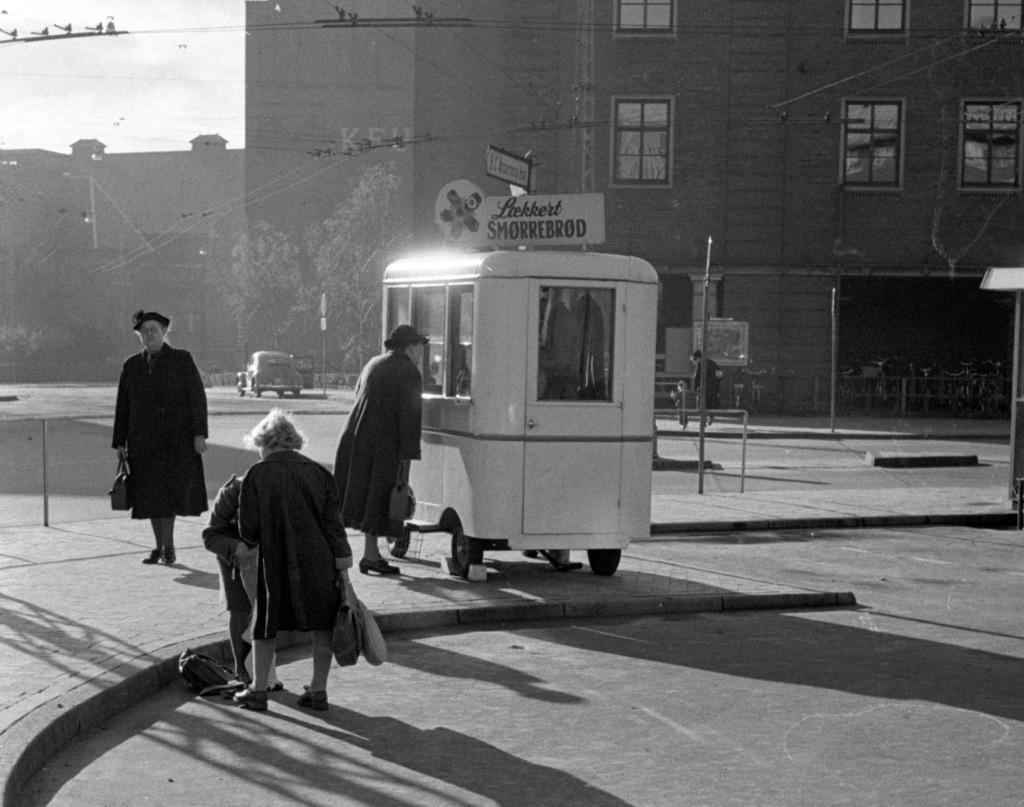Smørrebrødsvogn 1954 på Klingenberg